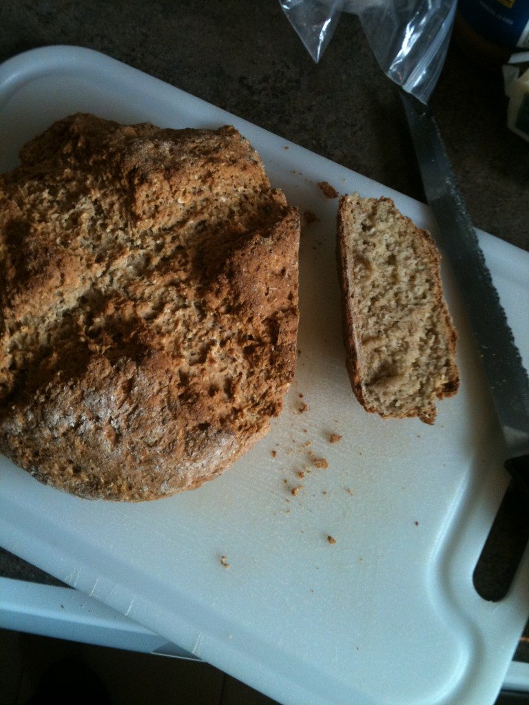 image of baked soda bread, with one end piece cut away