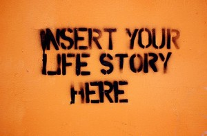 Stencil graffiti -- insert your life story here