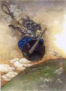 painting of Baba Yaga in her cauldron, flying over a green field