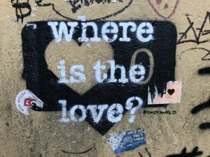 "white stenciled graffiti: ""where is the love?"""