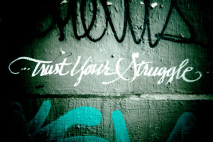 "photograph of the words ""Trust your struggle"" graffitied in cursive on a cement wall"